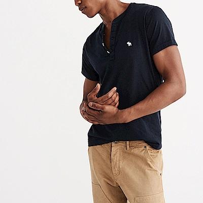 A&F 經典刺繡麋鹿亨利素色短袖T恤-深藍色 AF Abercrombie