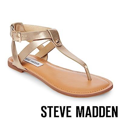 STEVE MADDEN-HIDDEN 鉚釘踝帶夾腳涼鞋-金色