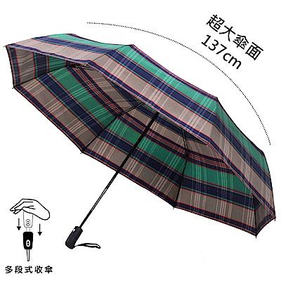2mm 超大!風潮條紋 超大傘面安全自動開收傘 (藍綠)