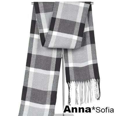 AnnaSofia 流蘇尾毛邊側 仿羊絨窄版長圍巾(大方格-灰米系)
