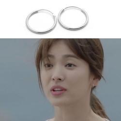 梨花HaNA   韓國空運太陽的後裔宋慧喬丹尼爾925銀光圈極簡耳環