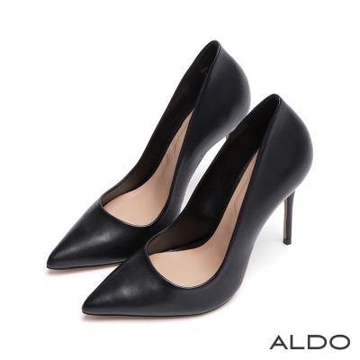 ALDO-摩登美人IN原色真皮尖頭細高跟鞋-尊爵黑