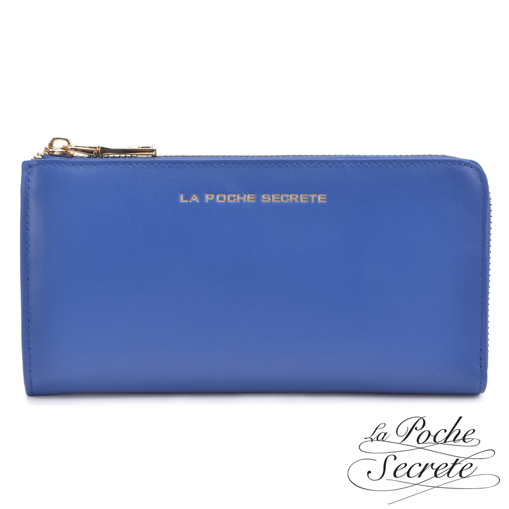 La Poche Secrete真皮 簡約風格真皮質感L型拉鍊長夾 皇家藍