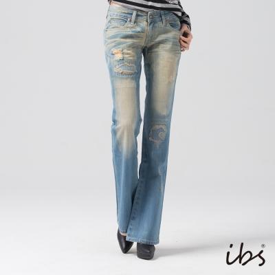 IBS 視覺系刷色破壞靴型褲-淺藍-女