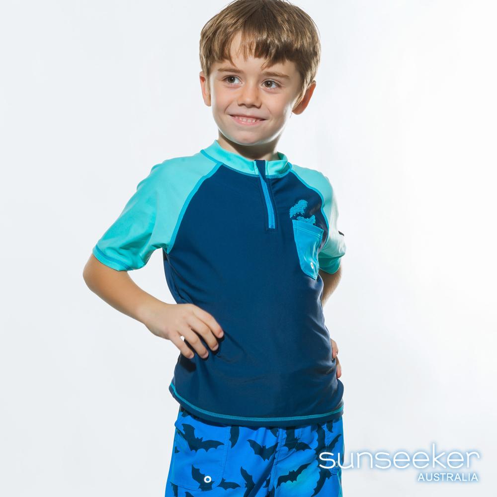澳洲Sunseeker泳裝大男童蝙蝠抗UV防曬短袖泳衣-上衣深藍