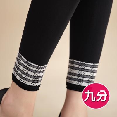 蒂巴蕾體態美LEGGING九分褲襪-幾何圖騰