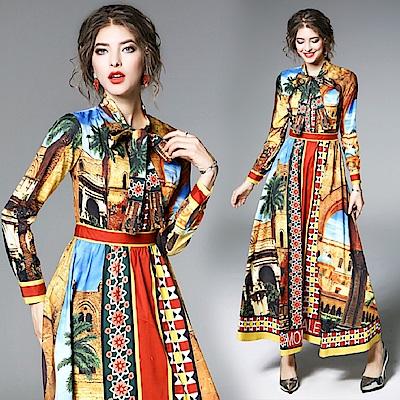 ABELLA 艾貝拉 義大利風情印花領結大擺長裙洋裝(S-2XL)