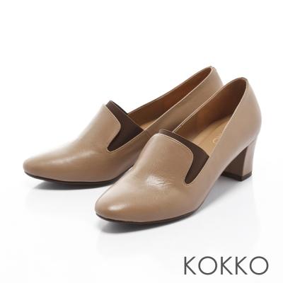 KOKKO-質感女紳牛皮鬆緊織帶粗跟鞋-質感杏