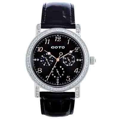 GOTO 星空閃耀圓鑽時尚腕錶-黑x玫瑰金/40.5mm
