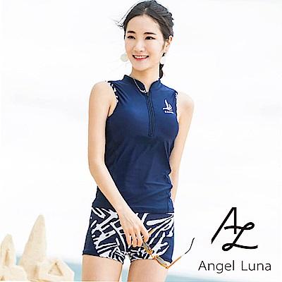 【AngelLuna】素色斑馬紋兩件式泳裝(日本直送3-10天到貨)