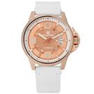 elegantsis 品味強勢回歸機械真皮手錶-玫瑰金x白/44mm