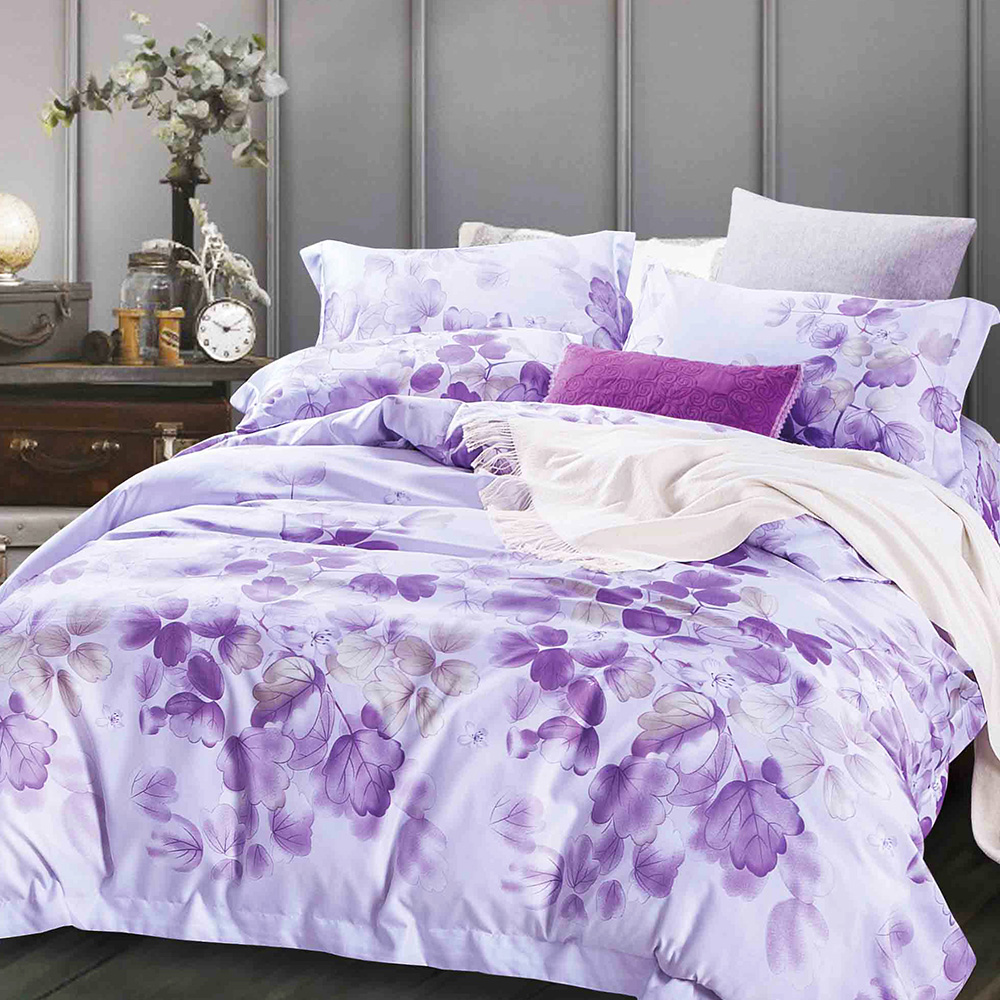 Ania Casa 陌上花開-紫 涼感天絲 採3M吸溼排汗專利 單人鋪棉兩用被床包組