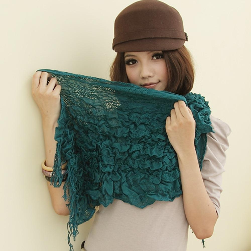 【I-shi】暖呼呼~雙格混織厚款圍巾(藍綠)
