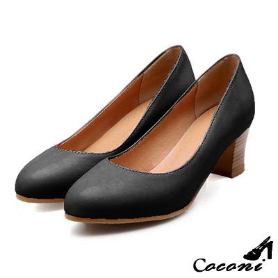 CoConi-修長線條木跟淺口跟鞋-黑