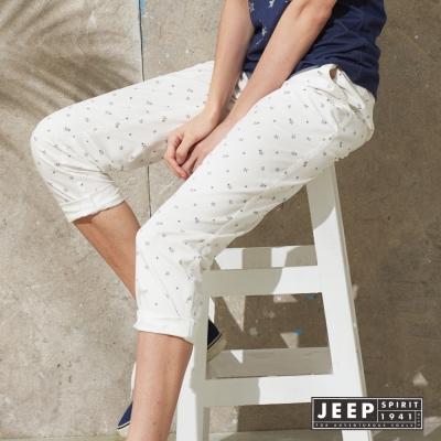 JEEP 女裝 夏日海洋滿版海星造型休閒長褲 (白色)