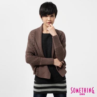 SOMETHING 針織衫 麻花粗織短版線衫外套-女-褐色