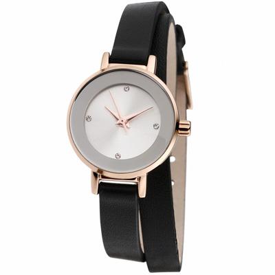 MANGO 俏麗佳人小錶面晶鑽雙圈錶帶腕錶-黑/24mm