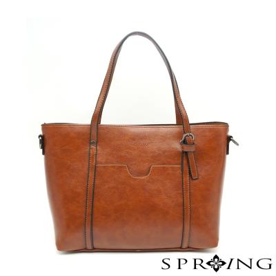 SPRING- 清新時尚兩用側肩包-棕色