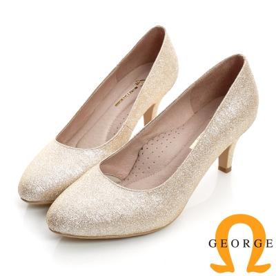 GEORGE-經典素面閃亮面料真皮中跟鞋(婚鞋)-金色