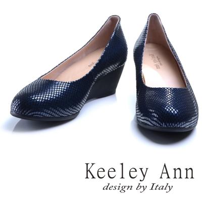 Keeley Ann 神秘魅力~素面質感格紋OL全真皮楔形鞋(藍色)