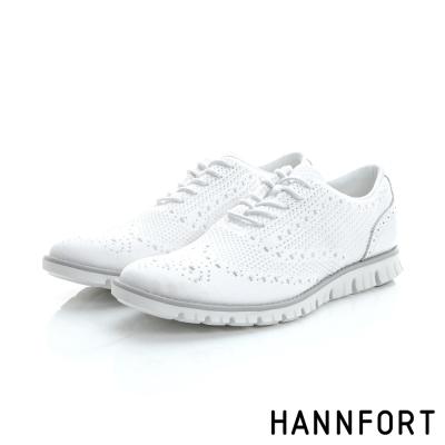 HANNFORT ZERO GRAVITY輕盈編織時尚牛津氣墊鞋-男-純淨白