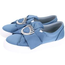 Chiara Ferragni Flirting 鑲鑽眨眼圖案緞面厚底鞋(藍色)