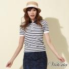Victoria 可愛POLO條紋短袖線衫-女-藍白條