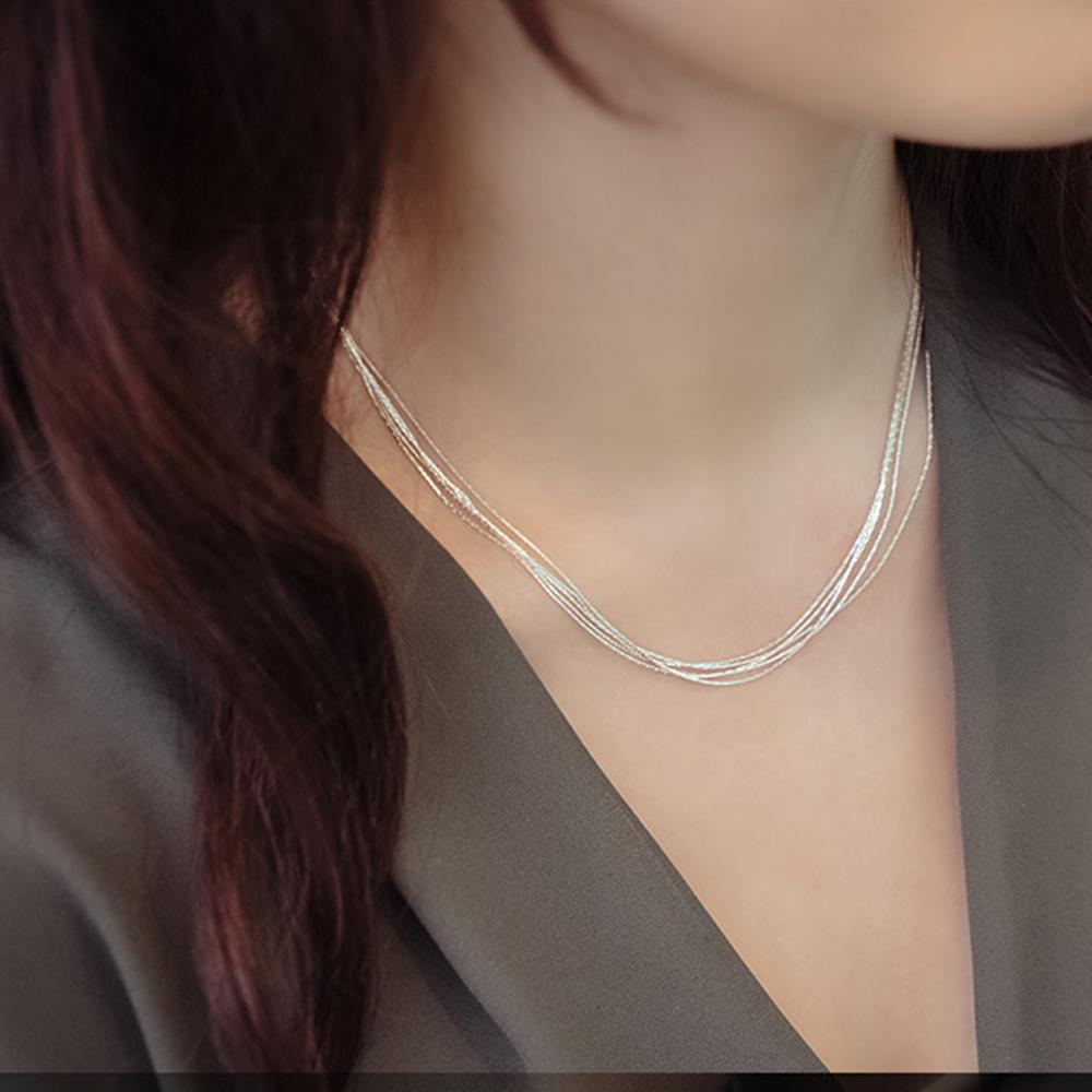 梨花HaNA韓國925銀簡約妝點多層細緻亮銀鎖骨鍊