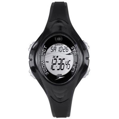 Speedo 紫外線感測運動電子腕錶-黑/40mm