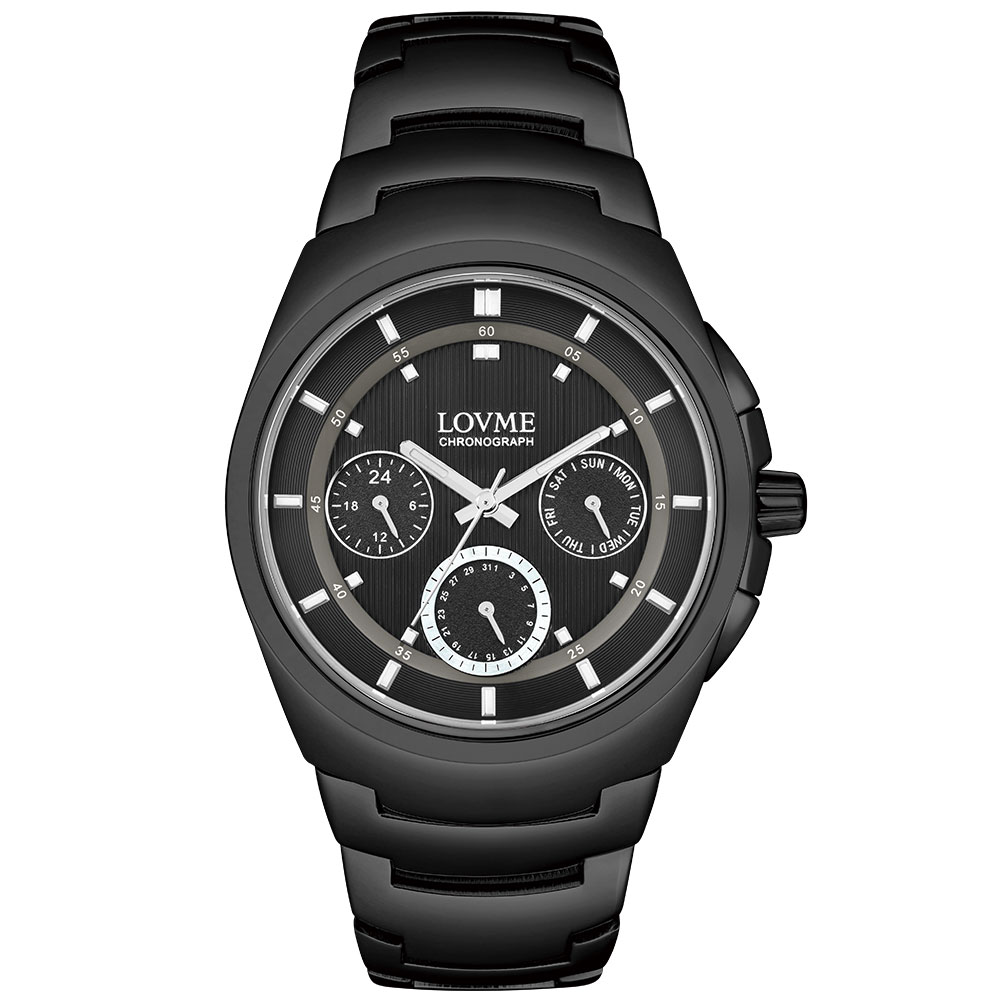 LOVME 潮流魅力時尚手錶-IP黑x白圈/43mm