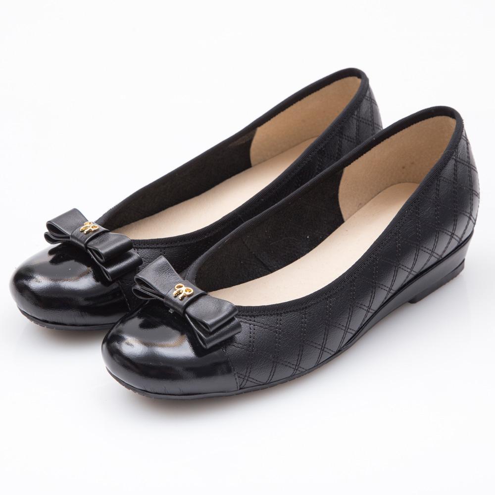 G.Ms. MIT系列-牛皮拼接漆皮蝴蝶結菱格小坡跟鞋-黑色
