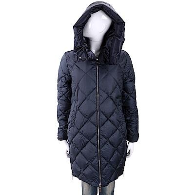 MARELLA 雙面穿深藍色長版絎縫連帽羽絨大衣