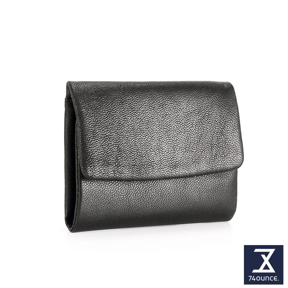 74盎司 翻蓋設計小羊皮短夾[LN-701]黑