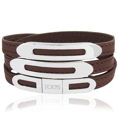 TODS 真皮壓紋三環釦手環-M/L號(咖啡色)