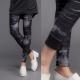 La Belleza暈染黑小千鳥格紋搖粒絨彈性厚棉內搭褲