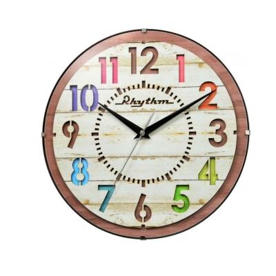 日本麗聲 RHYTHM 木紋立體彩色時標 掛鐘(CMG778NR07)卡其/30cm