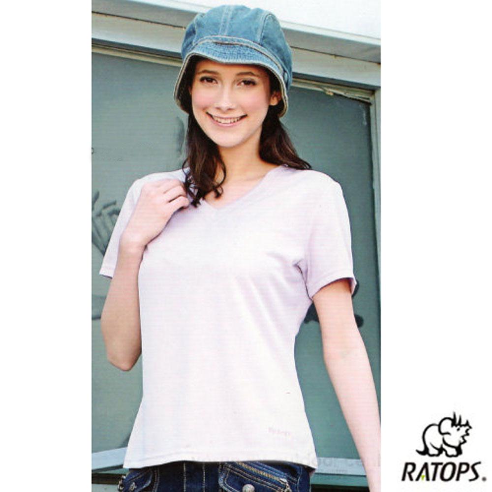 【瑞多仕-RATOPS】女 Coolmax V領短袖排汗衫_DB7856 淺粉紫 V