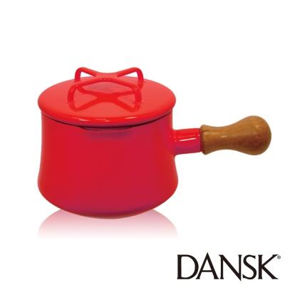 丹麥DANSK-琺瑯柚木單柄湯鍋13-5CM-辣椒紅