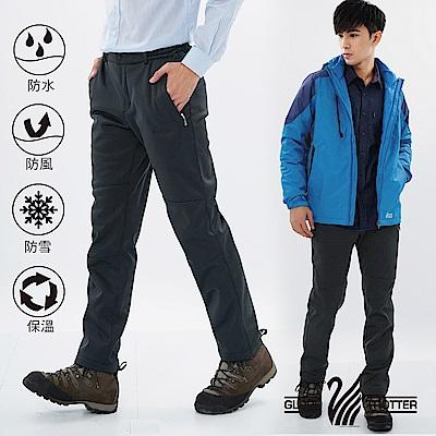 【遊遍天下】男款3D顯瘦防水防風禦寒軟殼刷毛褲GP20003深灰