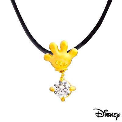 Disney迪士尼金飾 小手米奇黃金墜子 送項鍊