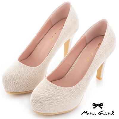 Mori girl 微金蔥光澤防水台厚底高跟鞋 淺金