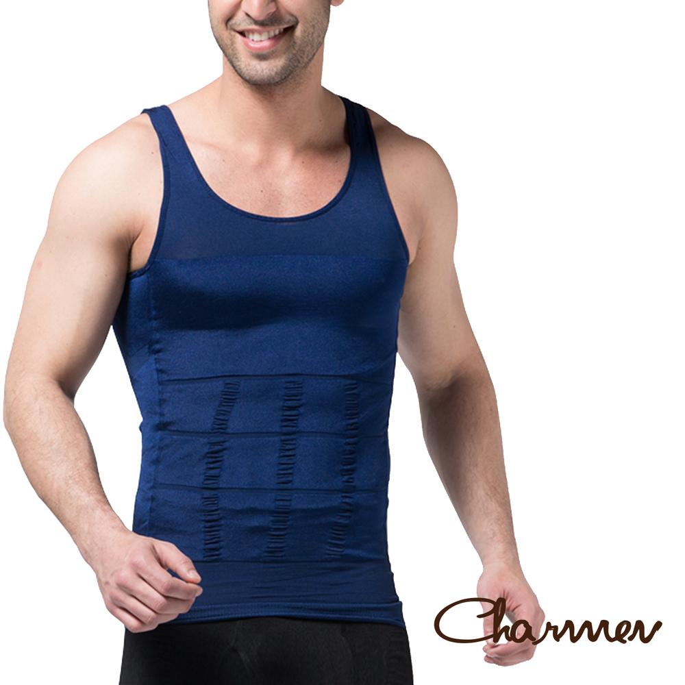 男性機能塑身衣 坦克加壓版背心 藍色 Charmen M-XL