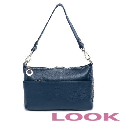 LOOK-牛皮簡約女孩斜背包-優雅藍