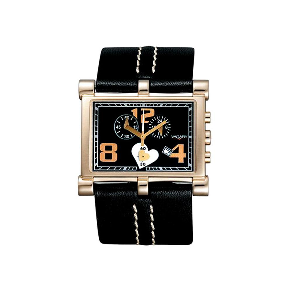 VAGARY 跳耀心秒盤個性腕錶-黑/玫瑰金/40mm