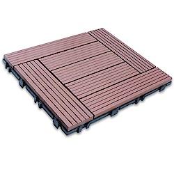 【貝力地板】太陽神DIY塑木止滑地板-4P4棕色回型(9片/箱)