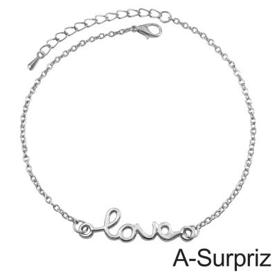 A-Surpriz 真愛LOVE造型腳鍊(銀色)