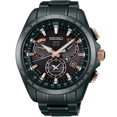 SEIKO ASTRON GPS 太陽能衛星電波腕錶(SSE075J1)-黑/45mm