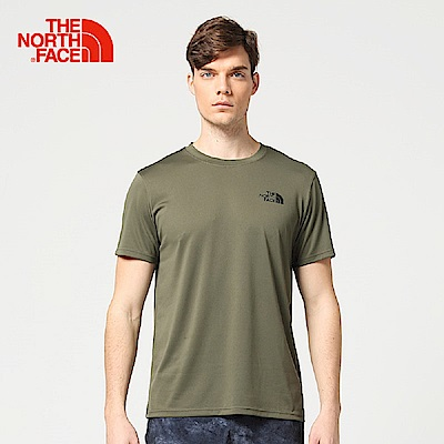 The North Face北面男款軍綠色吸濕排汗戶外運動短T恤