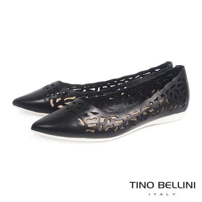 Tino Bellini 巴西進口抽象圖騰鏤空尖頭娃娃鞋_黑