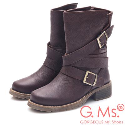 G.Ms. 牛皮金屬釦皮帶中筒機車工程靴-咖啡